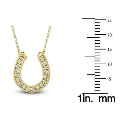 1/4 Carat TW Diamond Horseshoe Pendant in 14k Yellow Gold