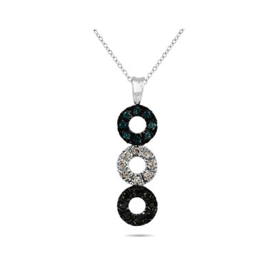 Blue , Black and White Diamond Pendant in 10K White Gold