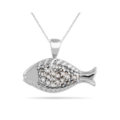 Diamond Fish Pandent in 10K White Gold