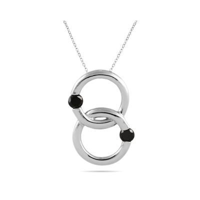 Black Circle Diamond Pendant in 10K White Gold