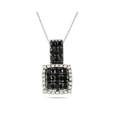 Black and White Diamond Pendant in 10K White Gold