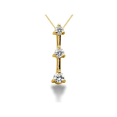 0.25CTW Classic Three Prong Three Stone Diamond Pendant in 18k Yellow Gold