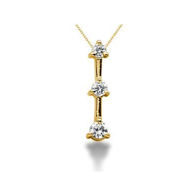 0.25CTW Classic Three Prong Three Stone Diamond Pendant in 14k Yellow Gold
