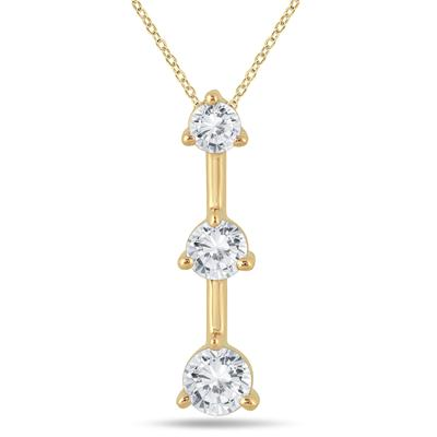1/2 Carat TW Three Stone Diamond Pendant in 10k Yellow Gold