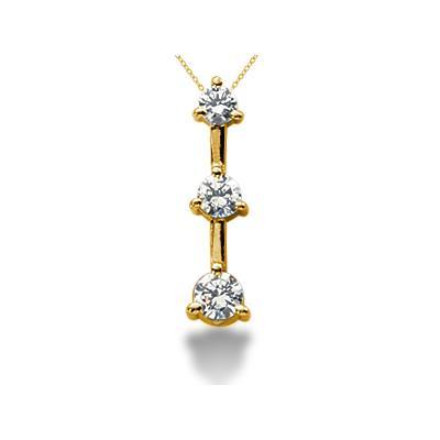 0.50CTW Classic Three Prong Three Stone Diamond Pendant in 18k Yellow Gold