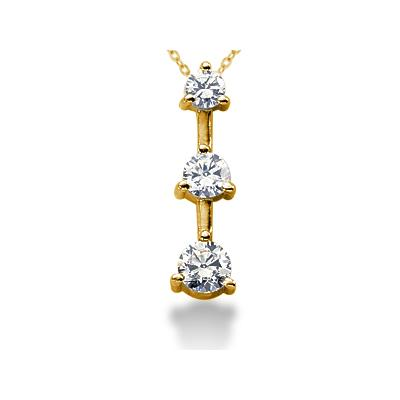 0.75CTW Classic Three Prong Three Stone Diamond Pendant in 14k Yellow Gold