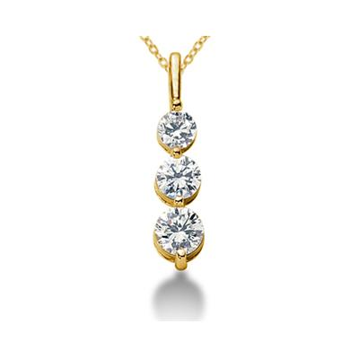 0.80CTW Shared Prong Three Stone Diamond Pendant in 18k Yellow Gold