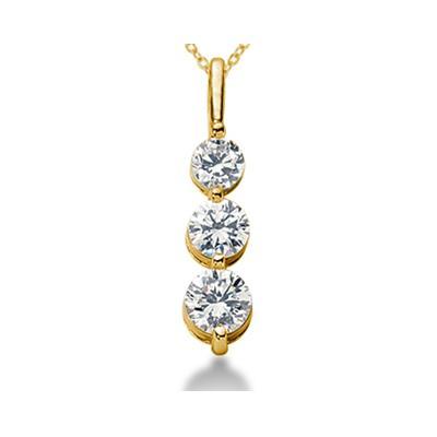 0.50CTW Shared Prong Three Stone Diamond Pendant in 18k Yellow Gold