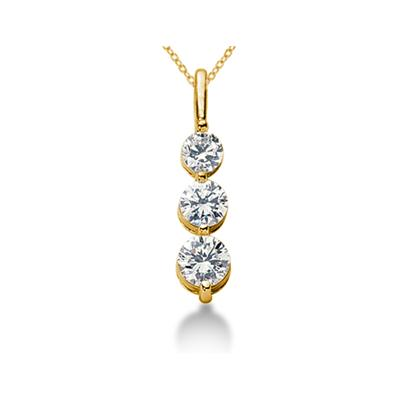 CTW Shared Prong Three Stone Diamond Pendant in 18k Yellow Gold