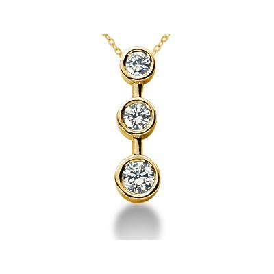 1/2 Carat Bezel Set Three Stone Diamond Pendant in 14k Yellow Gold
