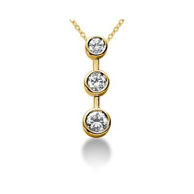 0.75CTW Bezel Set Three Stone Diamond Pendant in 18k Yellow Gold