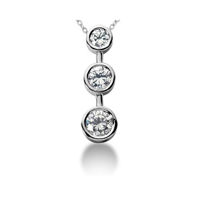 0.75CTW Bezel Set Three Stone Diamond Pendant in Platinum