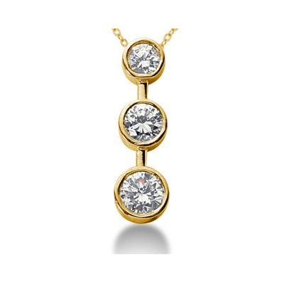 0.50CTW Bezel Set Three Stone Diamond Pendant in 14k Yellow Gold