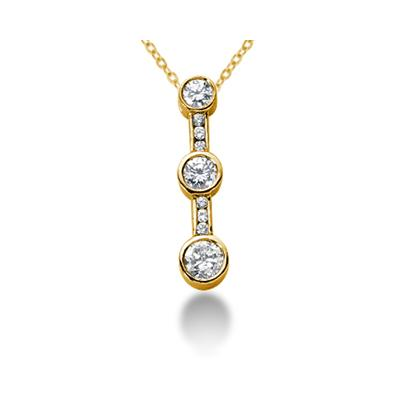 0.43CTW Bezel and Channel Set Diamond Three Stone Pendant in 14k Yellow Gold