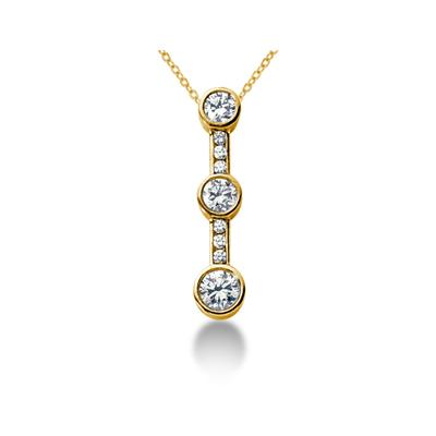 1.20CTW Bezel and Channel Set Diamond Three Stone Pendant in 18k Yellow Gold