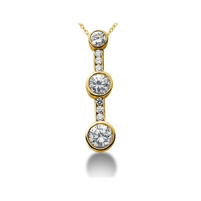 0.95CTW Diamond Three Stone Pendant in 18k Yellow Gold