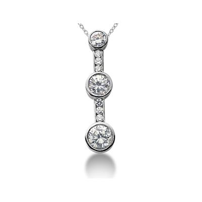 0.51CTW Diamond Three Stone Pendant in 18k White Gold