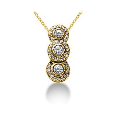 1.07 Regal Diamond Three Stone Pendant in 14k Yellow Gold