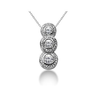 1.12 Regal Diamond Three Stone Pendant in 14k White Gold
