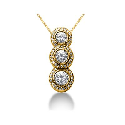 0.90 Regal Diamond Three Stone Pendant in 14k Yellow Gold