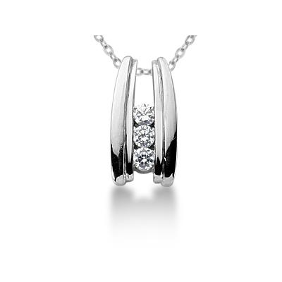 0.30CTW Bar Set Diamond Three Stone Pendant in 18k White Gold