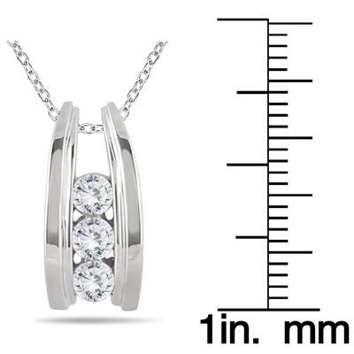 1/2 Carat TW Three Stone Diamond Ladder Pendant in 10k White Gold