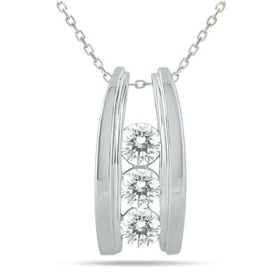 1 Carat TW Bar Set Three Stone Diamond Pendant in 14k White Gold