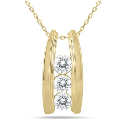 1 Carat TW Bar Set Three Stone Diamond Pendant in 14k Yellow Gold