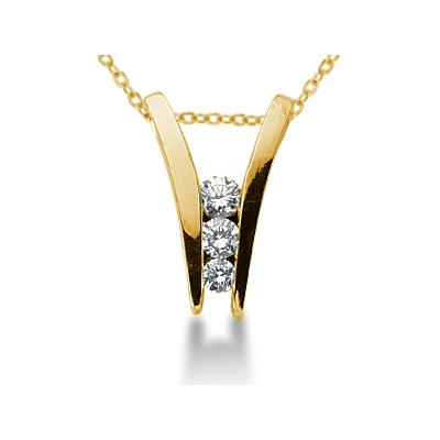 0.32CTW Diamond Three Stone Ladder Pendant in 14k Yellow Gold