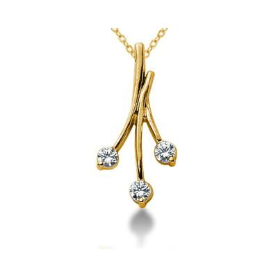 0.30CTW Diamond Three Stone Leaf Pendant in 18k Yellow Gold