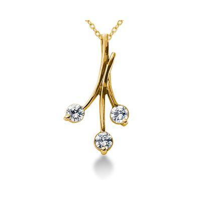 0.60CTW Diamond Three Stone Leaf Pendant in 14k Yellow Gold