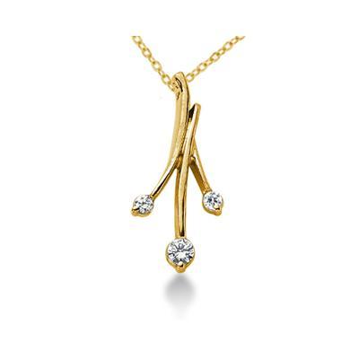 0.18CTW Diamond Three Stone Leaf Pendant in 18k Yellow Gold