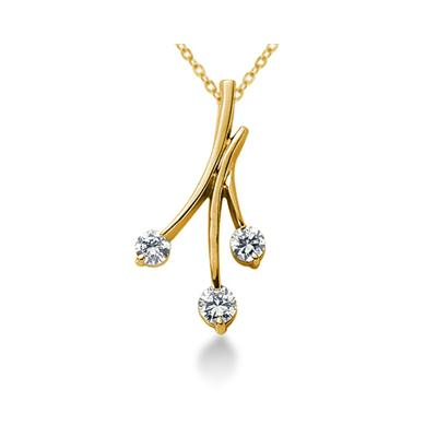 0.50CTW Diamond Three Stone Leaf Pendant in 18k Yellow Gold