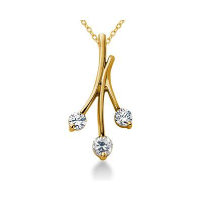 0.65CTW Diamond Three Stone Leaf Pendant in 14k Yellow Gold