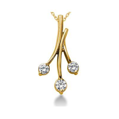 0.80CTW Diamond Three Stone Leaf Pendant in 18k Yellow Gold