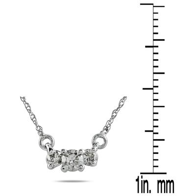 1/2 CT Diamond Three Stone Pendant Necklace 14K White Gold