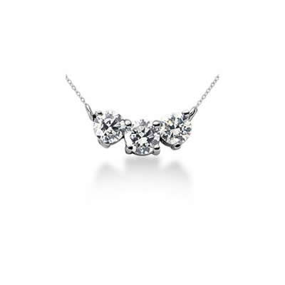 1.00CTW Classic Round Diamond Three Stone Necklace in 14k White Gold