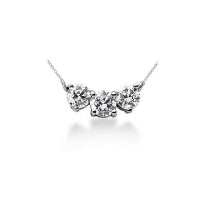 1.20CTW Classic Round Diamond Three Stone Necklace in 18k White Gold
