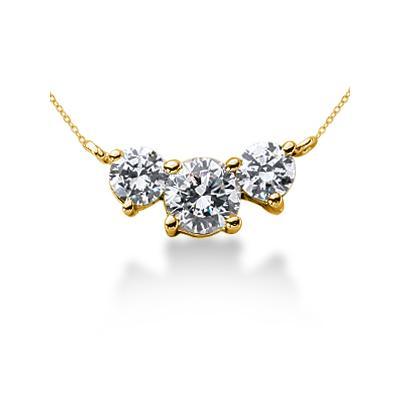 0.70CTW Diamond Three Stone Pendant in 18k Yellow Gold