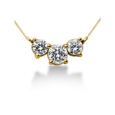 1.00CTW Diamond Three Stone Pendant in 14k Yellow Gold