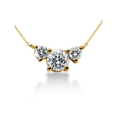0.40CTW Diamond Three Stone Pendant in 18k Yellow Gold