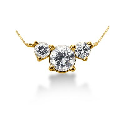 0.60CTW Diamond Three Stone Pendant in 14k Yellow Gold