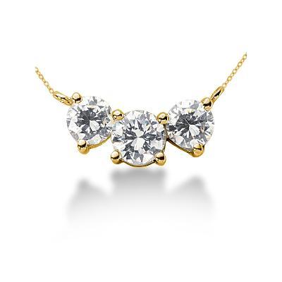 CTW Diamond Three Stone Pendant in 18k Yellow Gold