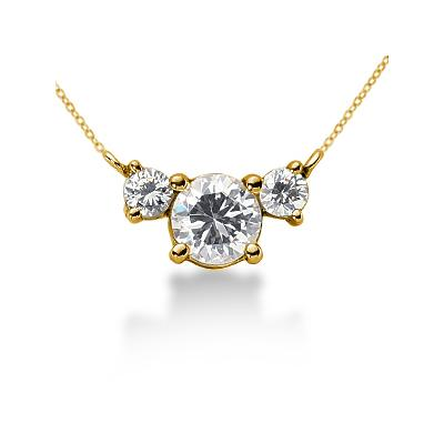 0.40CTW Diamond Three Stone Pendant in 14k Yellow Gold