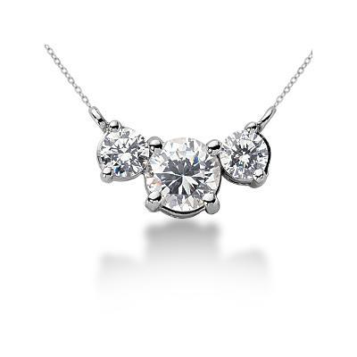 0.70CTW Diamond Three Stone Pendant in 14k White Gold