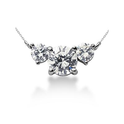 0.70CTW Diamond Three Stone Pendant in Palladium