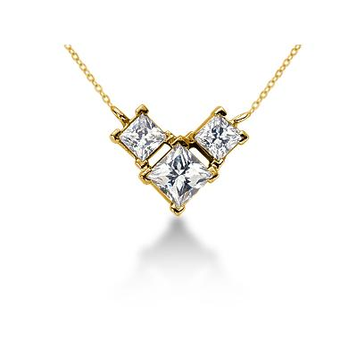 0.64CTW Classic Princess Diamond Three Stone Necklace in 18k Yellow Gold