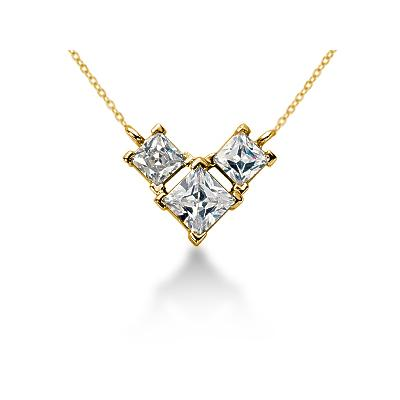 1.04CTW Classic Princess Diamond Three Stone Necklace in 18k Yellow Gold