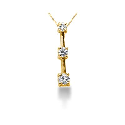 0.25CTW Classic Four Prong Three Stone Diamond Pendant in 18k Yellow Gold