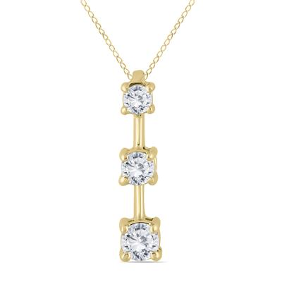 AGS Certified 1/2 Carat TW Three Stone Diamond Pendant in 10k Yellow Gold